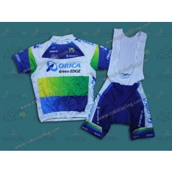 2013 Team Orica White/Blue Cycling Jersey And Bib Shorts