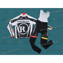 2011 RadioShack Trek Black Thermal Cycling Long Sleeve Jersey And Bib Pants Set