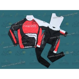 2012 GHOST Black/Red Thermal Cycling Long Sleeve Jersey And Bib Pants Set