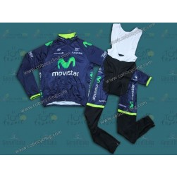 2014 Team Movistar Thermal Long Sleeve Cycling Jersey And Bib Pants