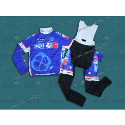 2014 FDJ Fr Blue Team Thermal Long Sleeve Cycling Jersey And Bib Pants