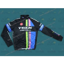 2014 Trek Castelli Black Rainbow Thermal Long Sleeve Cycling Jersey