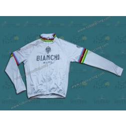 Bianchi Champion White Thermal Long Sleeve Cycling Jersey