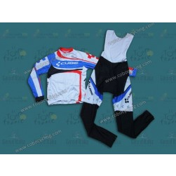 2014 Cube Women Long Sleeve Cycling Jersey And Bib Pants Set