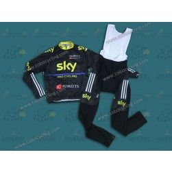 2013 SKY Black And Yellow Long Sleeve Cycling Jersey And Bib Pants Set