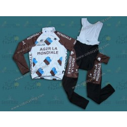 2014 Ag2r-La Mondiale Thermal Long Sleeve Cycling Jersey And Bib Pants