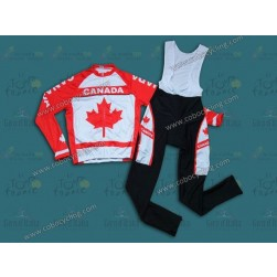 2014 Canada Country Team Long Sleeve Cycling Jersey And Bib Pants Set