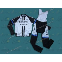 2014 Team Giant Shimano White Long Sleeve Cycling Jersey And Bib Pants Set