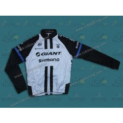 2014 Team Giant Shimano White Thermal Long Sleeve Cycling Jersey
