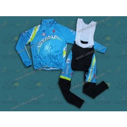 2013 Team Astana Thermal Long Cycling Jersey And Bib Pants