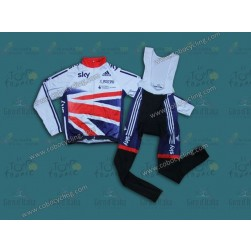 2013 Skу Union Flag White Thermal Long Cycling Jersey And Bib Pants