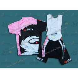 2013 Sidi Black And Pink Women Cycling Jersey And Bib Shorts