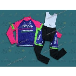 2014 Team Lampre - Merida Thermal Long Sleeve Cycling Jersey and Bib Pants