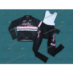 2014 Rapha Black And Pink Long Sleeve Cycling Jersey And Bib Pants Set