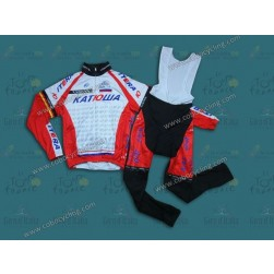 2014 Team Katusha Thermal Long Sleeve Cycling Jersey And Bib Pants
