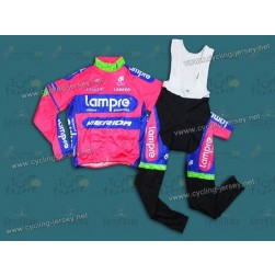 2013 Lampre Merida Thermal Long Sleeve Cycling Jersey and Bib Pants