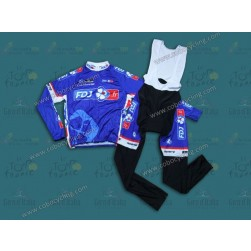 2014 Francaise des Jeux Blue Long Sleeve Cycling Jersey And Bib Pants Set