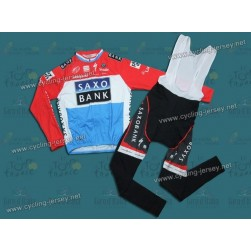 2010 Saxo Bank Luxembourg Champion Thermal Long Sleeve Cycling Jersey And  Bib Pants Set f3460046c