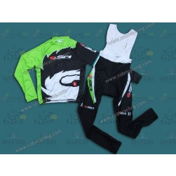 2013 Sidi Black And Green Long Sleeve Cycling Jersey And Bib Pants Set