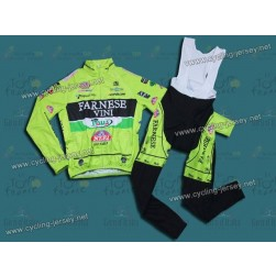 2012 Farnese Vini-Selle Italia Fluorescent  Thermal Cycling Long Sleeve Jersey And Bib Pants Set