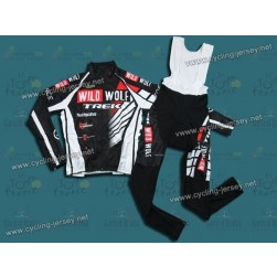 2012 Trek Wild Wolf Black And White Thermal Cycling Long Sleeve Jersey And Bib Pants Set