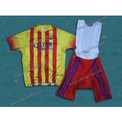 2014 Barcelona Barca Red And Yellow Cycling Jersey And Bib Shorts Set