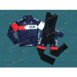 2014 Team IAM Thermal Long Sleeve Cycling Jersey And Bib Pants