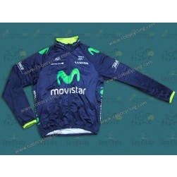 2014 Team Movistar Thermal Long Sleeve Cycling Jersey