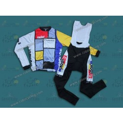 Team La Vie Claire Vintage Long Sleeve Cycling Jersey And Bib Pants Set