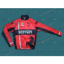 2013 Team Ferrari Red Thermal Cycling Long Sleeve Jersey