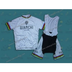 Bianchi Champion White Cycling Jersey And Bib Shorts