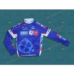 2014 FDJ Fr Blue Team Thermal Cycling Long Sleeve Jersey