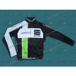 2013 Sportful Black/Green Thermal Cycling Long Sleeve Jersey