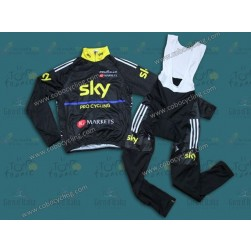 2013 SKY Black And Yellow Thermal Long Sleeve Cycling Jersey And Bib Pants