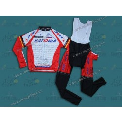 2014 Team Katusha Long Sleeve Cycling Jersey And Bib Pants Set