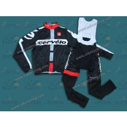 2014 Cervelo Black Thermal Long Sleeve Cycling Jersey And Bib Pants
