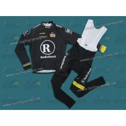 2010 LiveStrong R28 Thermal Champion Black Team Long Sleeve Cycling Jersey And Bib Pants Set