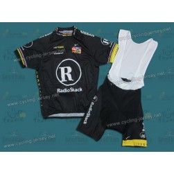 2010 LiveStrong R28 Champion Black Team Cycling Jersey And Bib Shorts Set