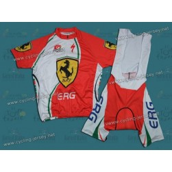2012 Ferrari ERG White And Green Cycling Jersey and Bib Shorts Set