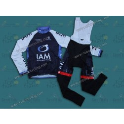 2013 IAM Blue Thermal Long Cycling Jersey And Bib Pants