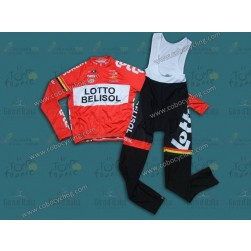 2014 Team Lotto - Belisol Long Sleeve Cycling Jersey And Bib Pants