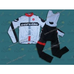 2014 Cervelo White Thermal Long Sleeve Cycling Jersey And Bib Pants