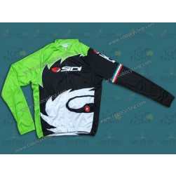 2013 Sidi Black And Green Cycling Long Sleeve Jersey