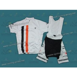 2012 White Bontrager Cycling Jersey and Bib Shorts Set