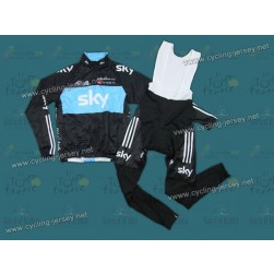2012 SKY Thermal Cycling Long Sleeve Jersey And Bib Pants Set