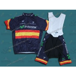 2014 Movistar Spain Champion Cycling Jersey And Bib Shorts