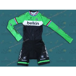 2014 Team Belkin Long Sleeve Cycling Skinsuit Time Trail Skin Suits