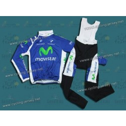 2012 Team Movistar Thermal Cycling Long Sleeve Jersey And Bib Pants Set