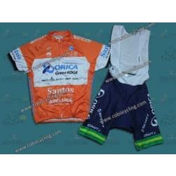 2014 Team Orica Orange Cycling Jersey And Bib Shorts