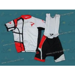 2012 Pinarello White And Red Cycling Jersey and Bib Shorts Set